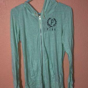 Women's PINK long sleeve zip up hoodie size M